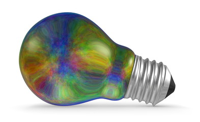 Multicolored iridescent light bulb lying isolated on white