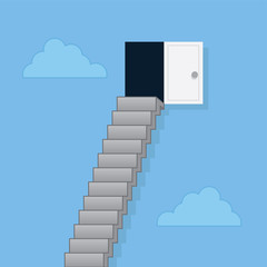 Steps leading up to door in the clouds