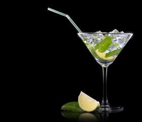Cocktail mojito on a black