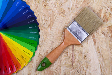 Color palette of paint and a brush