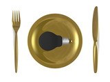 Black light bulb, golden plate, fork and knife. Top view poster