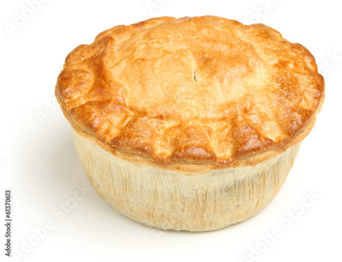 Meat Pie Isolated on White