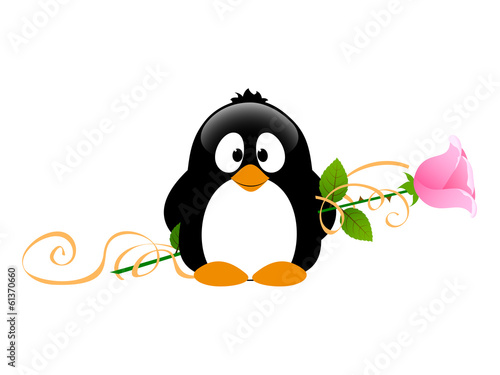 Penguin with rose