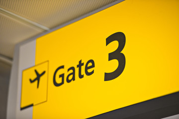 Gate 3 Sign at Airport