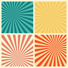 Sunburst Retro Textured Grunge Background Set