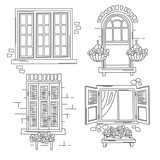 Set of retro windows on white background