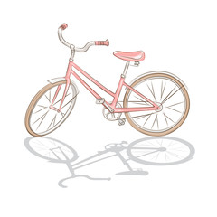 Pink bicycle on white background