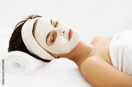 Poster, Tablou Beautiful Woman With Cosmetic Mask on Face. Girl Gets Treatment