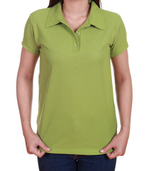 blank green polo shirt on woman
