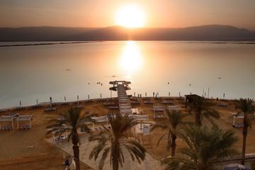 Sundown at The Dead Sea. The Dead Sea is second saltiest body of