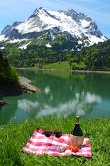 Wine and vegetables served at picnic on Alpine meadow. Switzerla