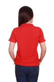 female with blank red polo shirt (back side)