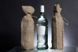 bag for water or alcohol made out of recycled Hessian sack with