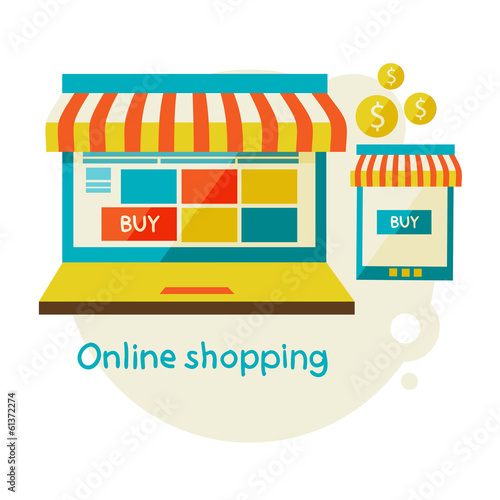 online shopping. Sale, Laptop and smart phone with awning