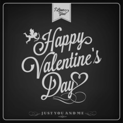 Valentine's Day Background On Blackboard with Chalk