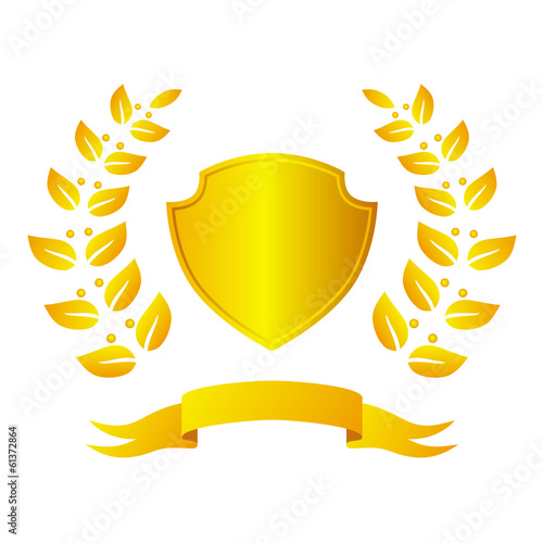 Golden shield with laurel wreath and ribbon