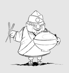 Japanese chef with a signature dishes. Freehand drawing