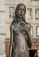 A statue of a naked slim girl in the park, Geneva, Switzerland