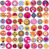 Fototapeta hearts, mushrooms & flowers pattern