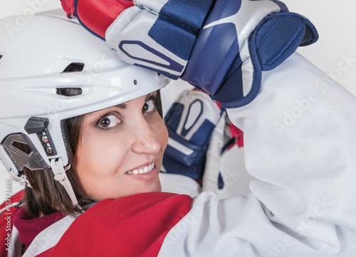 Beautiful ice hockey female player fashion portrait