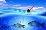 Fishing hook and fish crucian in deep blue green water lake