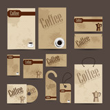 Business cards collection with coffee vintage design