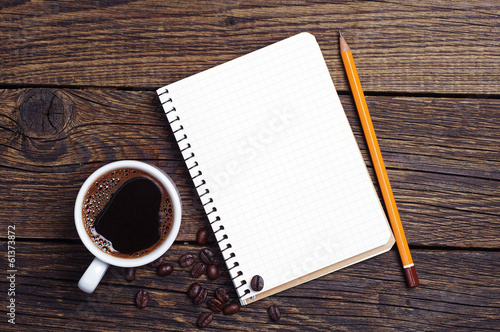 Foto op Canvas Koffie Notebook and coffee