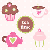 Tea time - vector set with cupcake