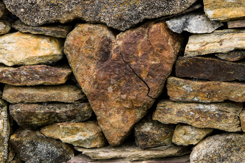 Heart in the stone fence