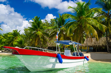 Boat on azure water, holidays, Sanoa,  Dominican Republic
