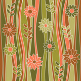 Seamless abstract flowery pattern, waves