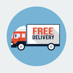 Free Delivery Truck Flat Icon