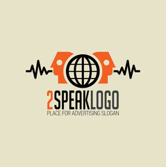 Logo 2 speakers orange head