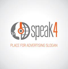 Logotyp słuchaj i mów pomarańczowo-grafitowe