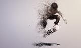 Skateboarding disintegration particles poster