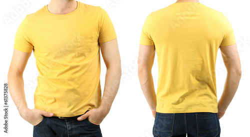 Young man in t-shirt isolated on white