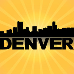 Denver skyline reflected with sunburst illustration
