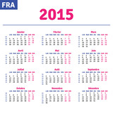 French calendar 2015, horizontal calendar grid, vector