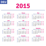 German calendar 2015, horizontal calendar grid, vector