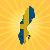 Sweden map flag on sunburst illustration