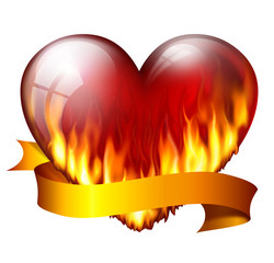 Big red heart on fire, with sash, isolated on white background