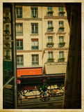 View from the window. Parisian street. Vintage photo