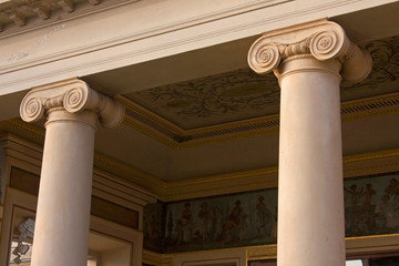 Ionic order columns in traditional architecture