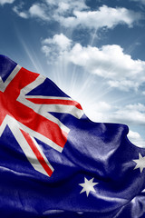 Flag of Australia with a beautiful blue sky as the background