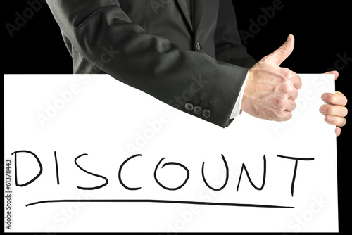 Businessman giving a thumbs up for a discount