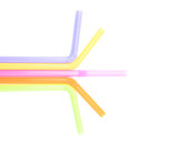 Colorful straw on white background
