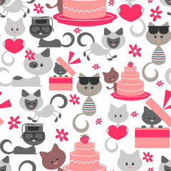 Seamless pattern with cute baby kittens