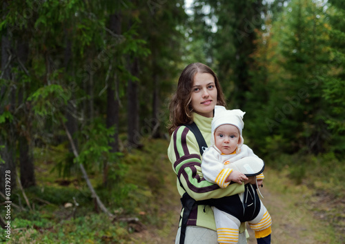 Portrait of Mother and Baby in the wild forest.