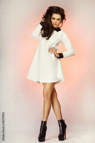 Fashionable brunette lady posing