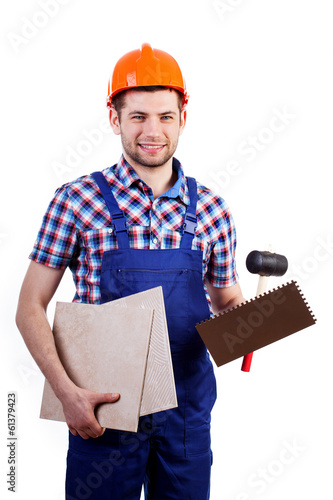 Tiler with equipment
